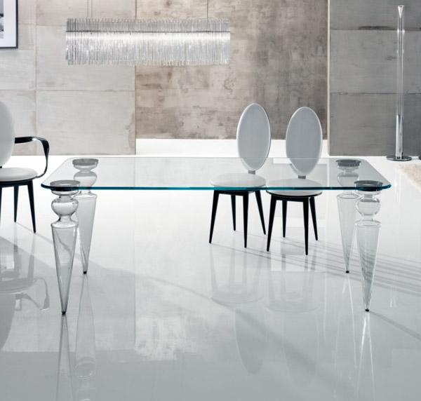 Tavolo gran canal 72 di reflex design riccardo lucatello for Tavolo pranzo cristallo